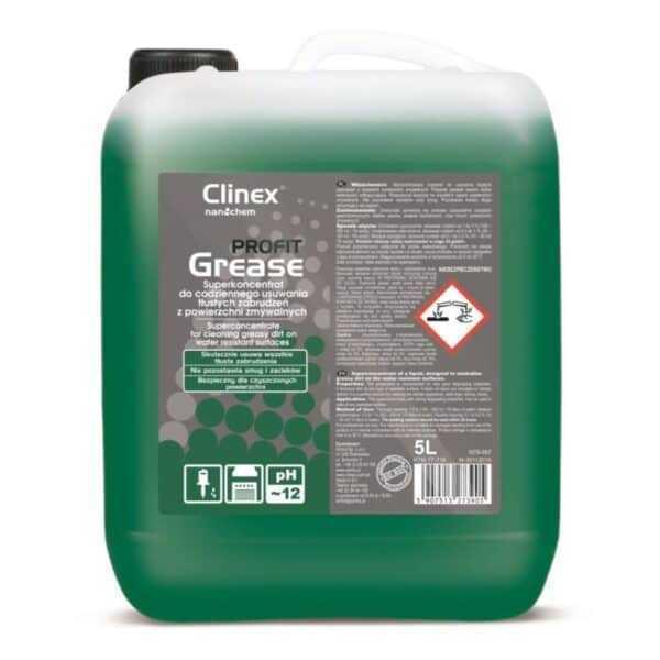 CLINEX PROFIT GREASE 5L – koncentrat do codziennego usuwania tłustych zabrudzeń z powierzchni zmywalnych