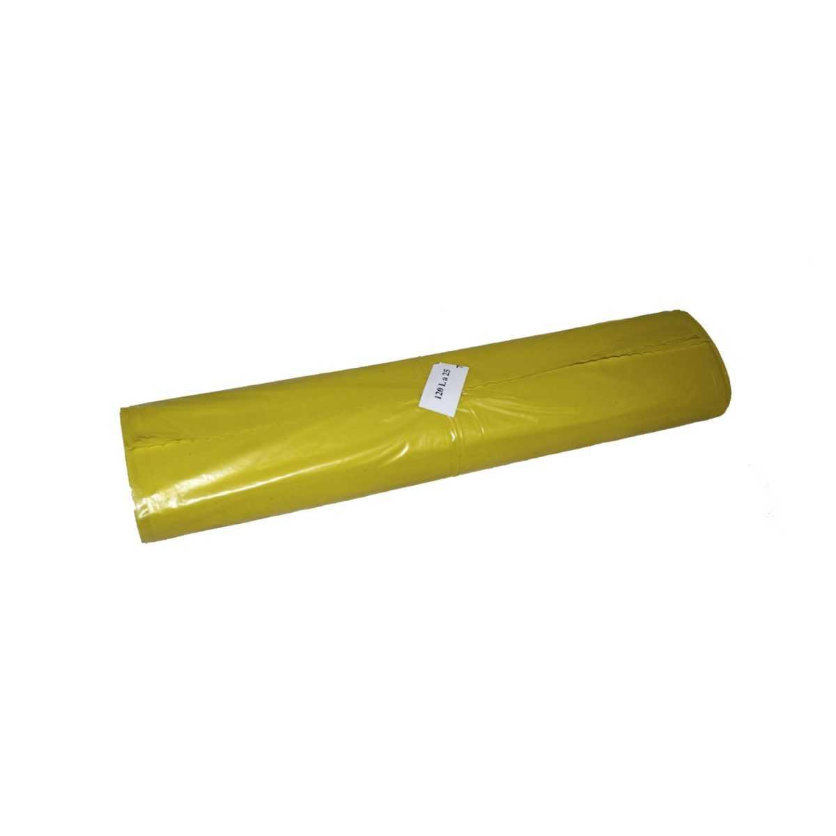 Worki na śmieci 120 litrów LDPE z mocnej folii, żółte w rolce 25 sztuk