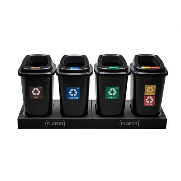 Plafor kosze na śmieci plastikowe, do segregacji, SORT BIN 28 litrów z podstawami, dwa gniazda