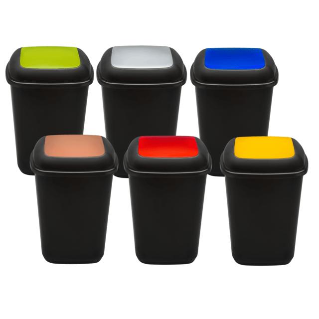 PLAFOR kosz na śmieci plastikowy uchylny, do segregacji odpadów QUATRO 45 litrów