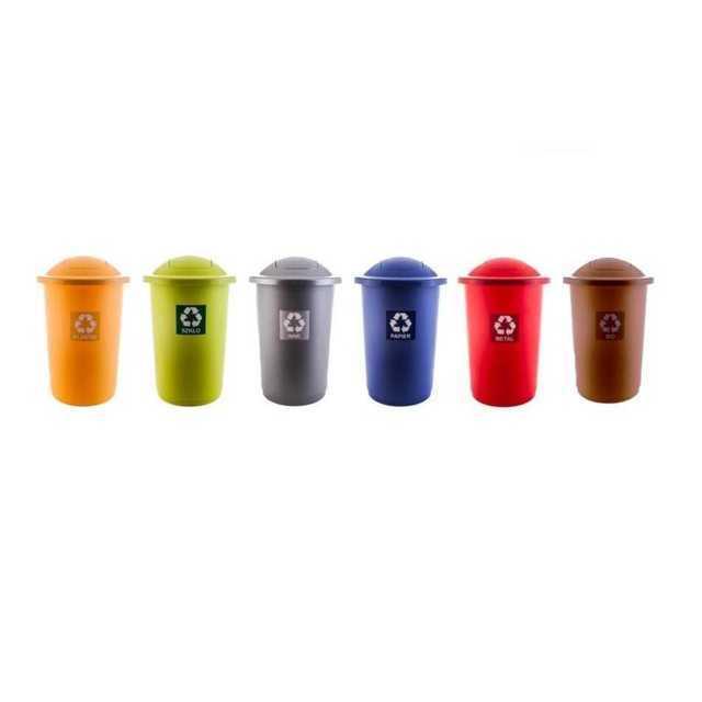 PLAFOR kosze na śmieci uchylne, plastikowe, do segregacji top bin 50 litrów z klapką