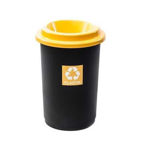 Plafor kosz na śmieci z kolorowym wiekiem, żółty plastik, przeznaczony do segregacji odpadów, ECO BIN 50 litrów