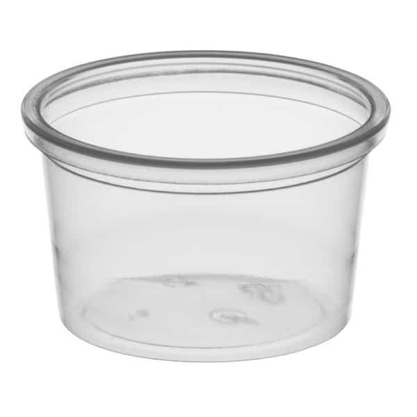 Przezroczysty okrągły pojemnik na sos z tworzywa pp