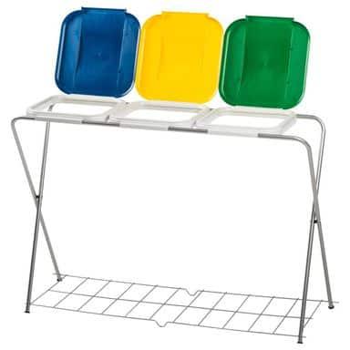Potrójny stojak na worki do segregacji odpadów, dodatkowa kratka - niebieski,żółty,zielony
