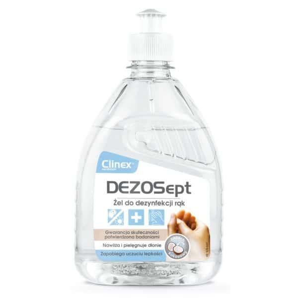 Mała butelka żelu do dezynfekcji rąk z dziubkiem Clinex DEZOSept 500ml