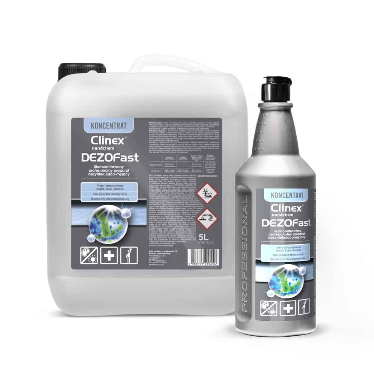 Skoncentrowany, profesjonalny preparat dezynfekujaco-myjacy Clinex DEZOFast