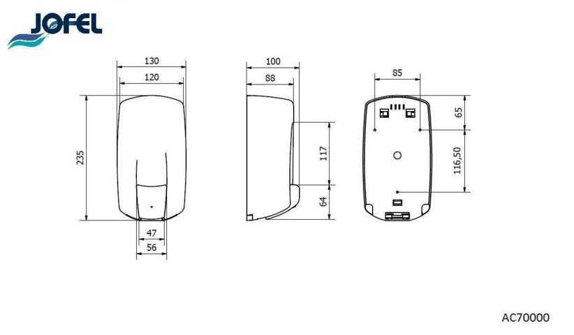 JOFEL dozownik do mydła w płynie AITANA AC70000 wymiary