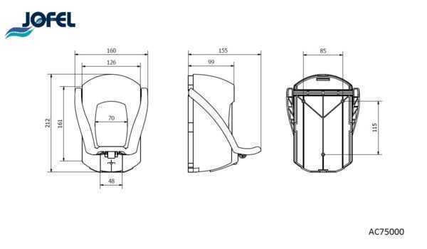 JOFEL dozownik do mydła z przyciskiem łokciowym AITANA AC75000 wymiary