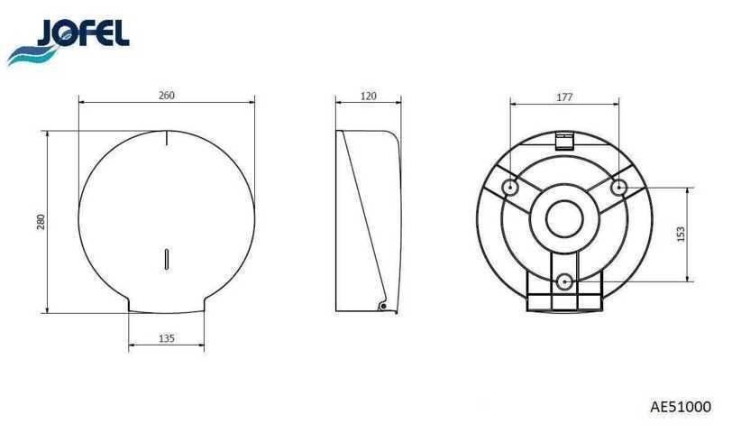JOFEL AITANA AE51000 dozownik na papier toaletowy JUMBO wymiary