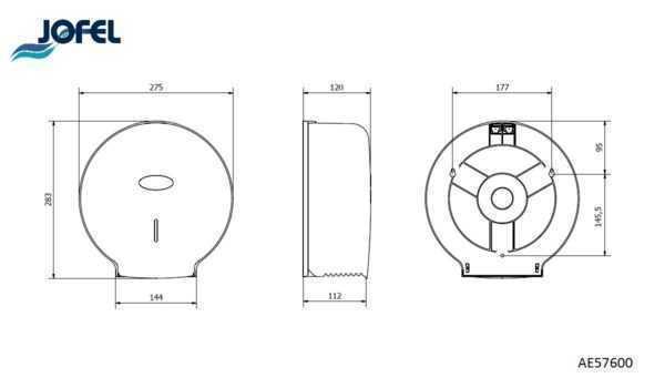 JOFEL dozownik na papier toaletowy JUMBO AE57600 wymiary