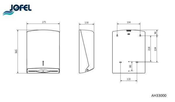 JOFEL dozownik na ręczniki papierowe AZUR AH33000 wymiary