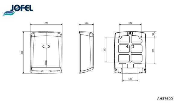 JOFEL dozownik na ręczniki papierowe składane AH37600 wymiary