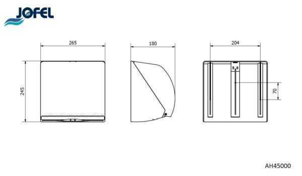 JOFEL dozownik do ręczników składanych i roli AZUR AH45000 wymiary