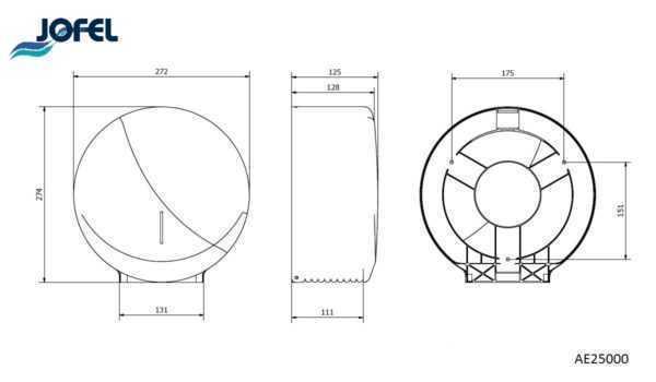 JOFEL FUTURA MAT AE25000 dozownik na papier toaletowy wymiary