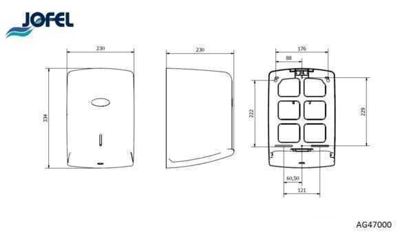 JOFEL dozownik na ręcznik w roli MAXI AZUR AG47000 wymiary