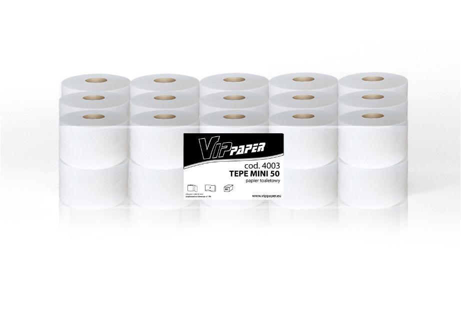 VIPpaper papier toaletowy w rolce TEPE MINI 50, biała makulatura 4003, 30 rolek