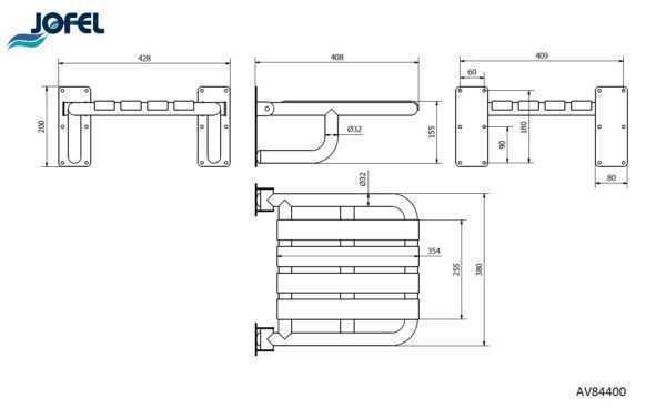 JOFEL AV84400 siedzisko pod prysznic dla niepełnosprawnych wymiary